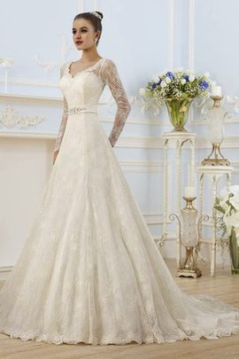 A-Line Court Train Lace Long Sleeves Wedding Dress
