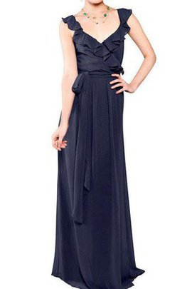V-Neck Sashes Simple Chiffon Sleeveless Bridesmaid Dress