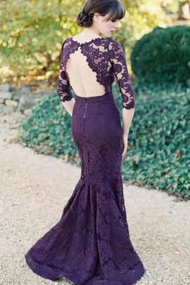 Natural Waist Lace Mermaid Backless Bridesmaid Dress