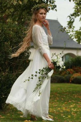 Sashes A-Line Chiffon Informal & Casual 3/4 Length Sleeves Wedding Dress