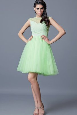 Ruched Beading Natural Waist Jewel Capped Sleeves Homecoming Dress