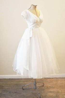 Tea Length Short Sleeves Zipper Up Pleated Capped Sleeves Wedding Dress