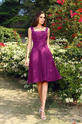 Natural Waist Knee Length A-Line Square Bridesmaid Dress