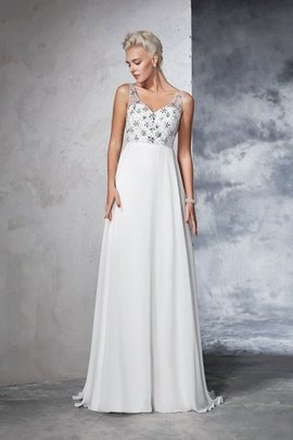 Sleeveless Empire Waist Sweep Train A-Line Long Wedding Dress