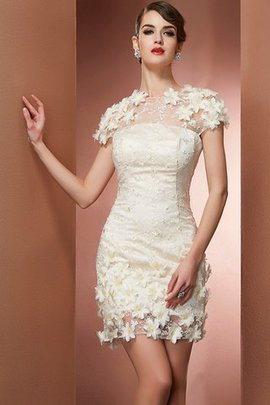 Natural Waist Satin Short Sleeves Lace High Neck Homecoming Dress