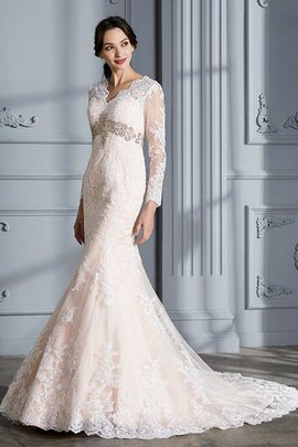 Mermaid Sweep Train V-Neck Long Sleeves Organza Wedding Dress