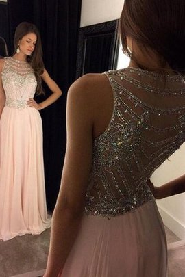 Sleeveless Crystal Natural Waist A-Line Chiffon Evening Dress