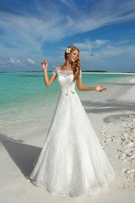 Bow Beach Sweep Train Off The Shoulder Romantic Wedding Dress