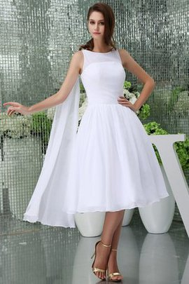 Draped A-Line Zipper Up Tea Length Jewel Wedding Dress