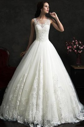 Sleeveless Lace Appliques Ball Gown Jewel Wedding Dress
