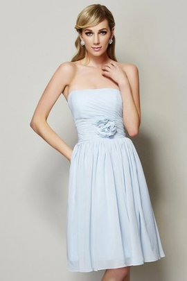 Flowers Sleeveless Princess Strapless Natural Waist Bridesmaid Dress
