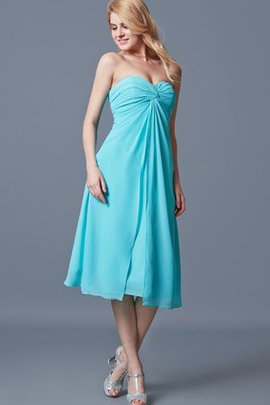 Ruched Tea Length Pleated Chiffon Zipper Up Bridesmaid Dress