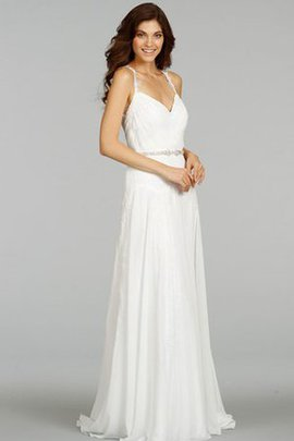 Jewel Chiffon Sweep Train Sheath Sleeveless Wedding Dress