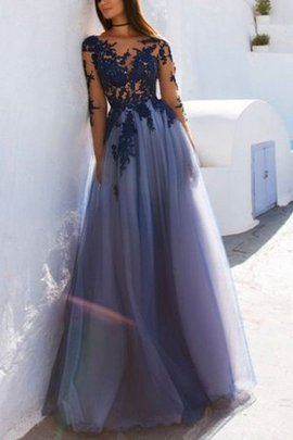Natural Waist Junoesque Tulle Scoop Long Sleeves Princess A-Line Evening Dress