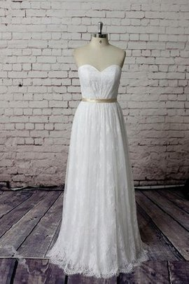 Sweetheart Floor Length Lace Zipper Up Wedding Dress
