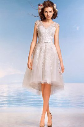Simple Informal & Casual High Low Lace Romantic Wedding Dress