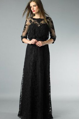 Appliques Lace Fabric Floor Length 3/4 Length Sleeves Prom Dress