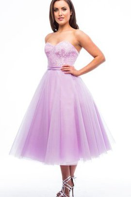 Lace A-Line Tulle Strapless Simple Bridesmaid Dress
