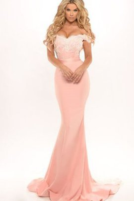 Floor Length Backless Chiffon Off The Shoulder Sleeveless Evening Dress