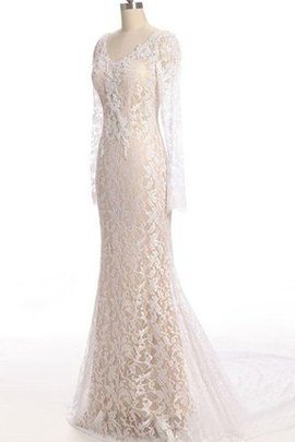 Zipper Up Lace Fabric V-Neck Mermaid Elegant & Luxurious Wedding Dress