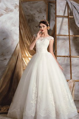 Capped Sleeves Bateau Lace-up Organza A-Line Wedding Dress