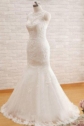 Sheer Back Floor Length Rectangle Vintage Formal Wedding Dress
