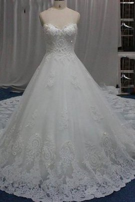 Taffeta A-Line Zipper Up Lace Fabric Satin Wedding Dress