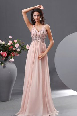 Empire Waist A-Line V-Neck Chiffon Spaghetti Straps Evening Dress