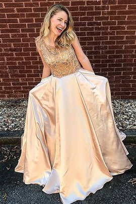 Satin Princess Floor Length Beading Scoop Cute Natural Waist Prom Dress