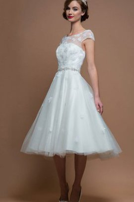 Tulle Vintage Sashes Informal & Casual Jewel Wedding Dress