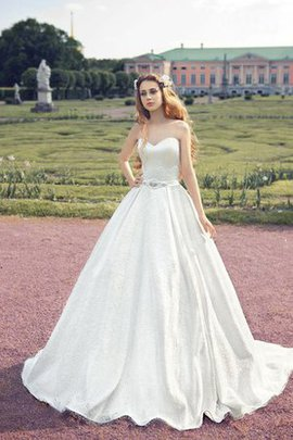 Natural Waist Sleeveless Long Satin Floor Length Wedding Dress