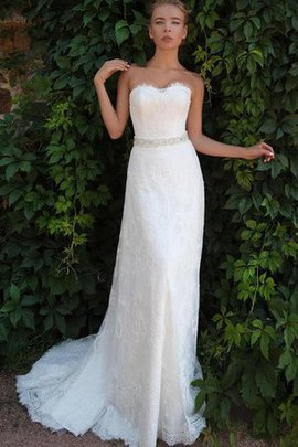 Natural Waist Appliques Lace Fabric Long Court Train Wedding Dress