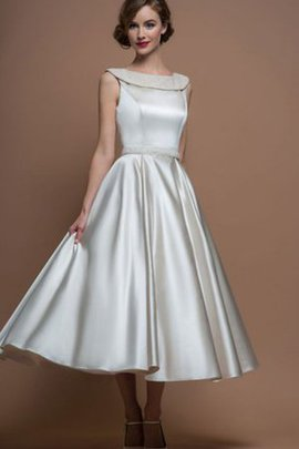 Tea Length Beading Informal & Casual Sleeveless Satin Wedding Dress