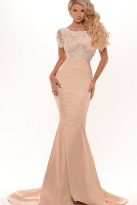 Lace Floor Length Simple Zipper Up Sweep Train Evening Dress