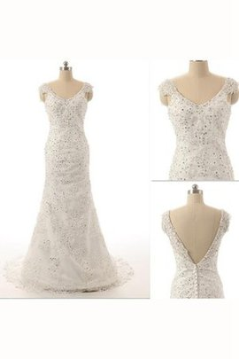 Organza Sequined Capped Sleeves Appliques Beading Wedding Dress