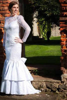 Modest Bateau Long Sleeves Floor Length Sweep Train Wedding Dress