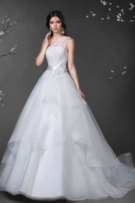One Shoulder Floor Length Lace-up Natural Waist Ball Gown Wedding Dress