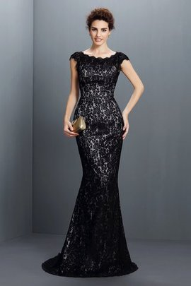 Lace Sweep Train Mermaid Bateau Natural Waist Evening Dress