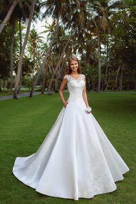 Court Train Capped Sleeves A-Line Appliques Satin Wedding Dress