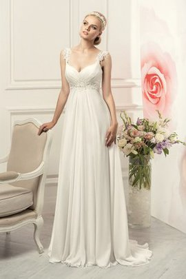 Empire Waist Ruched Chiffon Elegant & Luxurious Beach Wedding Dress