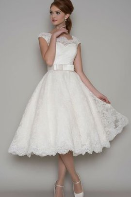 Vintage Button A-Line Bow Tea Length Wedding Dress