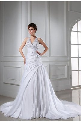 Appliques Beading A-Line Sleeveless Taffeta Wedding Dress