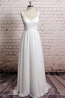 Pleated Natural Waist Chiffon Lace Sleeveless Wedding Dress