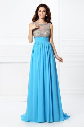 Sweep Train Bateau Beading Long Natural Waist Prom Dress