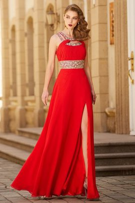 Floor Length Chiffon Zipper Up Beading Sleeveless Evening Dress