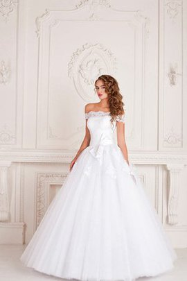 Lace-up Sweep Train Ruched Natural Waist Scoop Wedding Dress