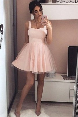 Princess Sleeveless Dazzling Short Wide Straps Natural Waist A-Line Party Dress