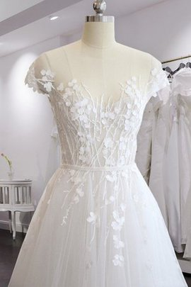 Charming Short Sleeves A-Line Long Sexy Outdoor Court Train Wedding Dress