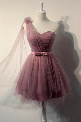 Flowers Short Tulle Natural Waist One Shoulder Homecoming Dress