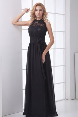 Long Lace Bow High Neck Sleeveless Evening Dress